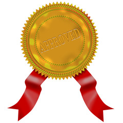 Gold seal with red ribbon approved