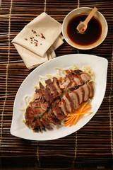 Peking duck on plate