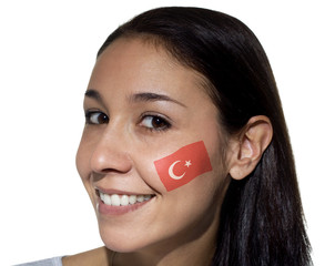 Smiling Woman with Turkish Flag