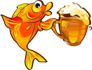 funny fish with beer isolated on white