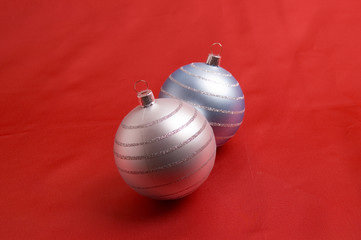baubles on red background