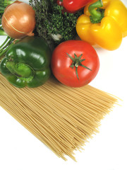 herbs, vegetables and pasta