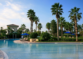 the landscape and swimming pool in a resort