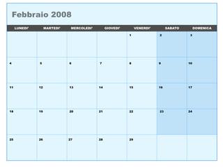 Calendario vettoriale febbraio 2008