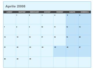 Calendario vettoriale aprile 2008