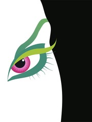 Red eye - illustration of a woman eye and face