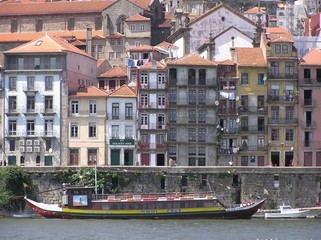Boat on the river in Porto, Portugal.