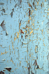 Detalle de la pintura deteriorada de una puerta