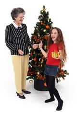 Noel et enfant heureuse