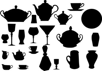 collection of dishware
