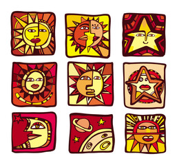 A collection of abstract  planets, icons, vectors