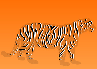 silhouette of tiger with stripes
