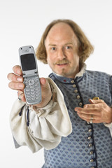 Shakespeare holding cell phone.