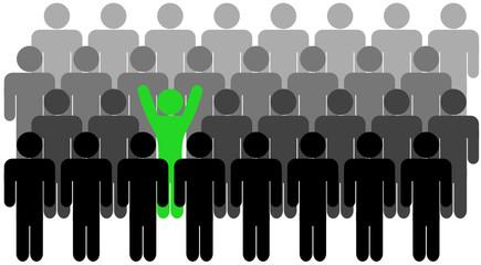 le bon candidat bras levés dans la foule