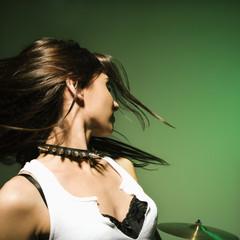 Female swinging hair.