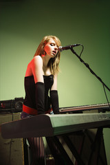 Female singing.