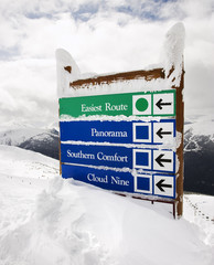 Snow covered sign.