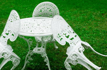Garden chairs around a table