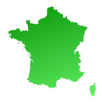 green gradient map of France