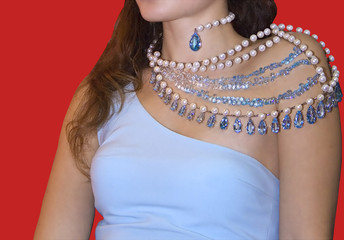 woman shoulder gems