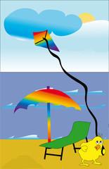 Foto op Plexiglas Rivier, meer Duck on the beach