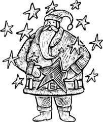 A Santa Claus in engrave style with Stars all around