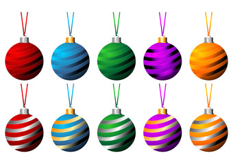 Striped Christmas balls with ribbons isolated over white