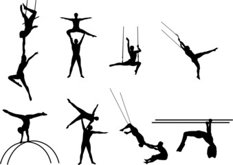 acrobats silhouettes