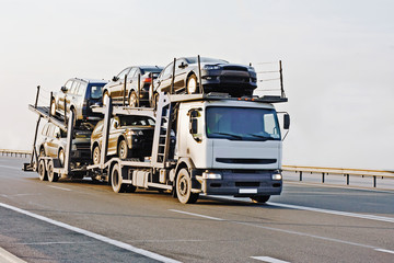 "car carrier truck deliver batch to dealer ""trucks"" series"