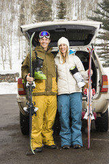 Couple going skiing.