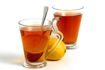 two tea with yellow lemon