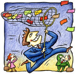 Businessman with net catching colored papers