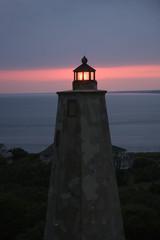 Lighthouse at dusk.