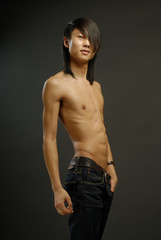 The young man with bared torso