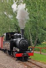Old red and black locomotive in Sweden