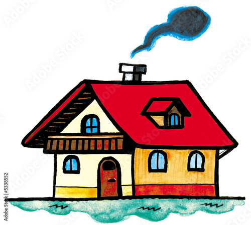 Quot House With Red Roof And Smoke Coming Out Of Chimney