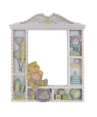 A colorful childs window frame over a white background