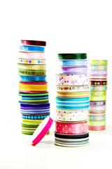 Stacks of ribbon on rolls