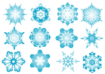 Beautiful vector blue snowflakes on a white background