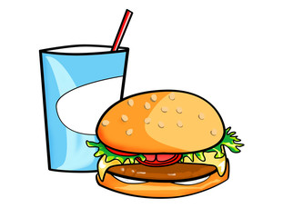 illustrated image of a burger and soda meal