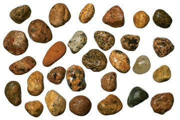 Varicolored granite and quartz round gravel stones.