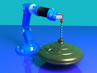 Whirligig on a blue Background with robot 3D model