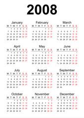 2008 English calendar