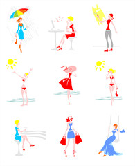 nine stylized women