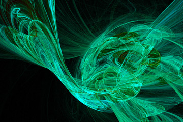 Abstract fractal background cold green and blue over black