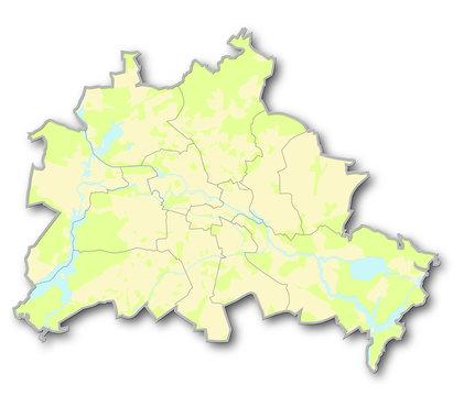 Berlinkarte mit Grünflächen und Wasser