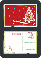 Vintage vector postcard design with flower Christmas tree