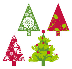Christmas trees in red and green with floral swirls