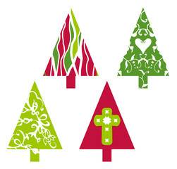 Christmas trees in red and green with floral swirls, heart