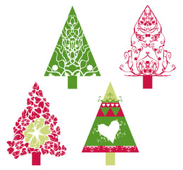 Christmas trees with swirls, scrolls and floral elements